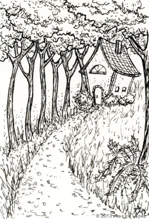 Cottage on a Hill - Ink Drawing