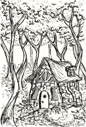 Stone Cottage - Ink Drawing