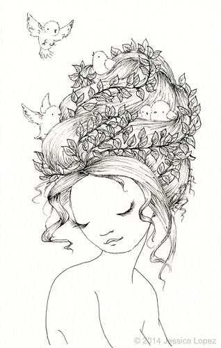 Birds Nest - Ink Drawing